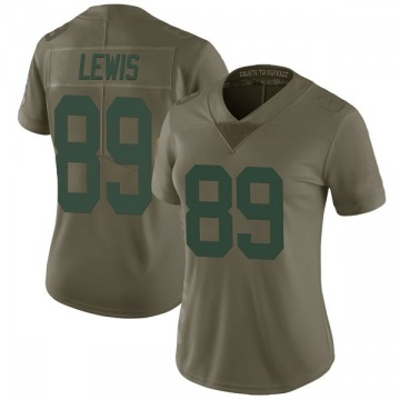 Women's Green Bay Packers Marcedes Lewis Green Limited 2017 Salute to Service Jersey By Nike